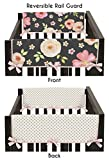 Black, Blush Pink and Gold Side Crib Rail Guards Baby Teething Cover Protector Wrap for Watercolor Floral Collection by Sweet Jojo Designs - Set of 2 - Rose Flower Polka Dot