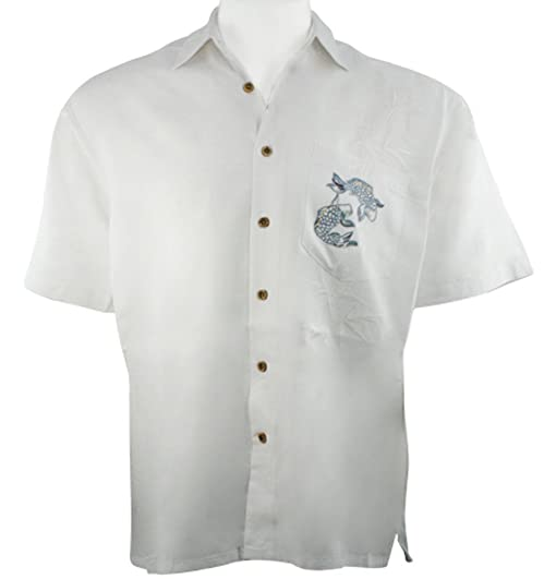 Bamboo Cay -Charming Koi, Men's Tropical Style Embroidered Off ...
