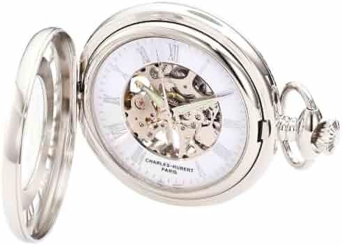 Charles-Hubert, Paris 3928 Classic Collection Chrome Finish Brass Mechanical Pocket Watch
