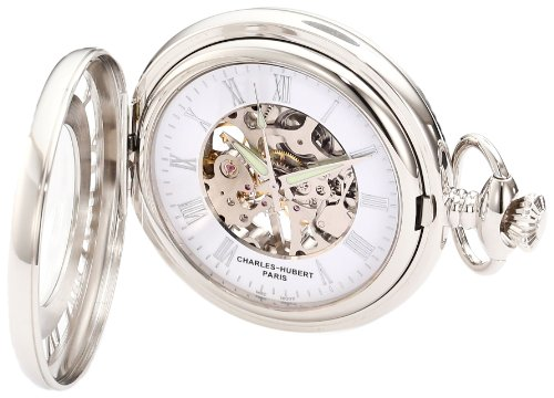 Charles-Hubert, Paris 3928 Classic Collection Chrome Finish Brass Mechanical Pocket Watch (Mechanical Stopwatch)