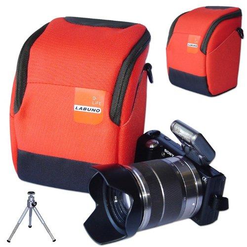 First2savvv high quality anti-shock Orange Nylon camera case bag for LEICA X2 EDITION PAUL SMITH with mini tripod