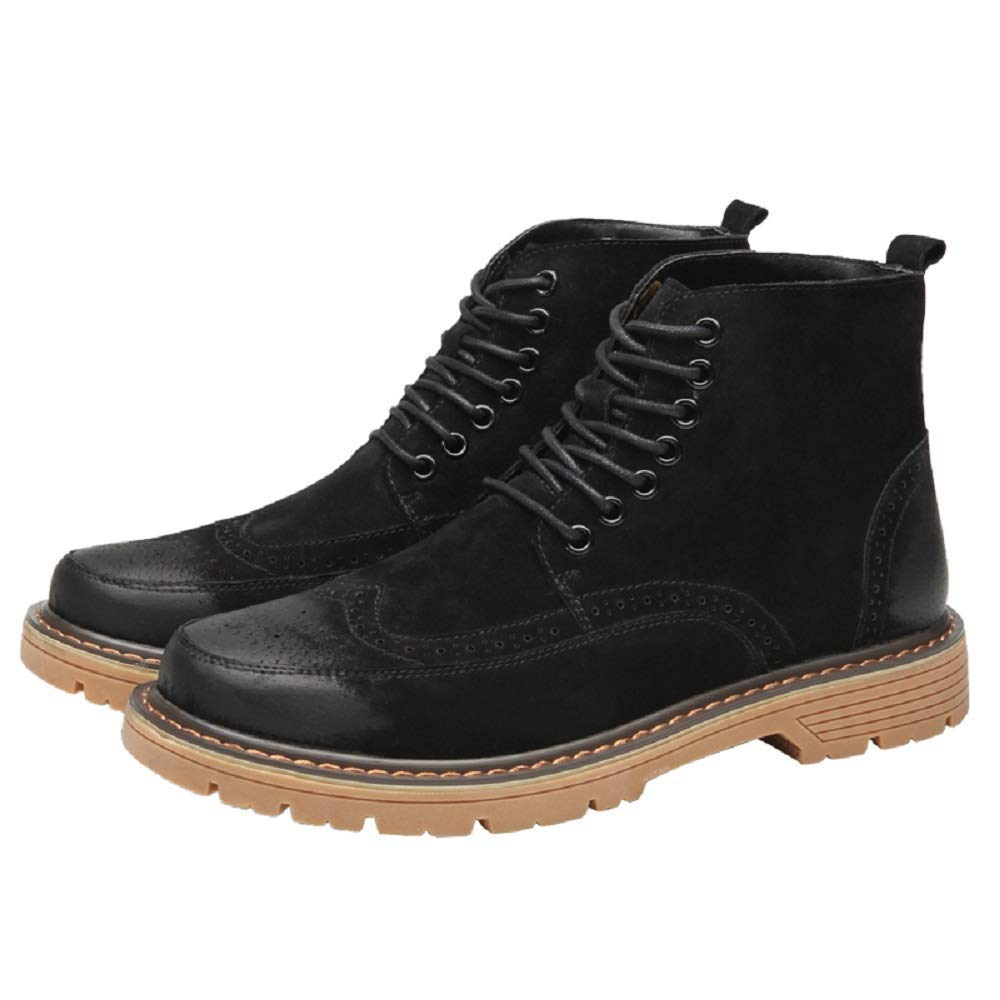 Black MON5F HOME Men's Suede Oxford Boots Martin Boots Men's Carved Leather Boots Brock Men's shoes Leather Korean Version Of British Leather Boots (color   Black, Size   43)