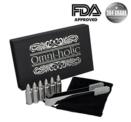 Whiskey Bullet Chillers - Birthday Gifts For Men Set 6 Stainless Steel Bullet Shaped Alcohol Wine Stone Chiller Groomsmen With Tongs and Storage Bag Set by Omni-holic est 2017 by Omni-Holic