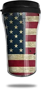 CZJAHBL Baseball American Flag Vintage Travel Coffee Mug Delicate Printing Portable Vacuum Cup,Food Grade Abs Insulated Cup Anti-Spill(8.8 Oz)