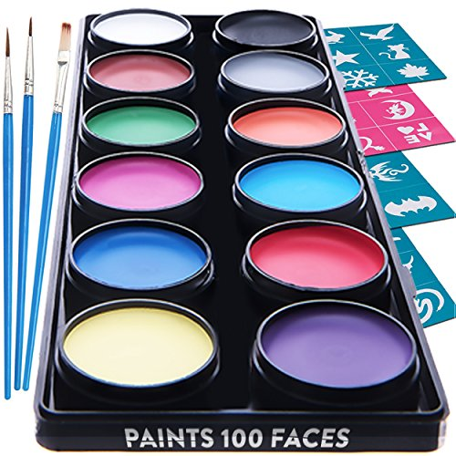 Face Paint Kit for Kids – 30 Stencils, 12 Large Washable Paints, 3 Brushes, Safe Facepainting for Sensitive Skin, Professional Quality Body & Face Facepaints - World Cup Costume Makeup (Halloween Face Painting Of Witches)