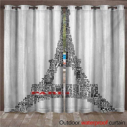 (WilliamsDecor Paris Home Patio Outdoor Curtain Illustration of Tour Eiffel with Words Paris Historical Cultural French Building W72 x L96(183cm x 245cm))