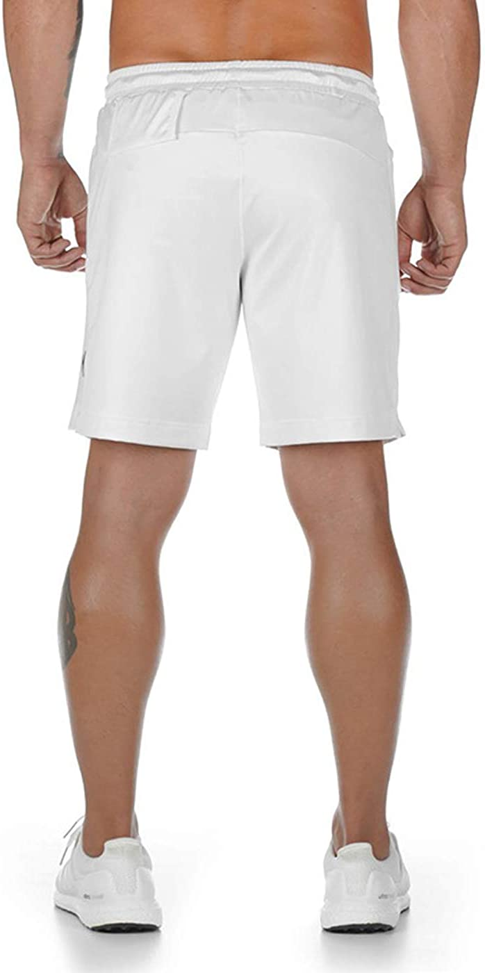 Mens Gym Workout Shorts Solid Bodybuilding Running Training Jogging Boxing Short Pants with Zipper Pocket
