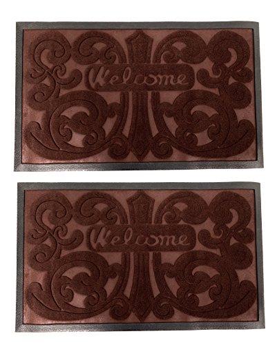Blu Monaco - Indoor/Outdoor Welcome/Door Mat - 30 in x 18 in (30 in x 18 in, Brown) ()