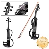 GC Global Direct Full Size Maple Silent Electric Violin Headphone Set w/ Case (Half Size, Black)