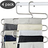 DS Pants Hangers S-Shape Trousers Hangers Stainless Steel Clothes Hangers Closet Space Saving Organizer for Pants Jeans Scarf Hanging Silver (4 Pack with 10 Clips)