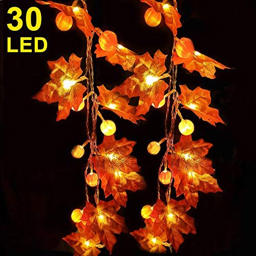 Halloween Garland With Lights (Thanksgiving Decoration 10 ft 30 LED Pumpkin Maple Leaf Garland String Lights for Halloween Thanksgiving Fall Decoration Seasonal Light fit Party Indoor Outdoor Decor Gift 3AA Battery Power)
