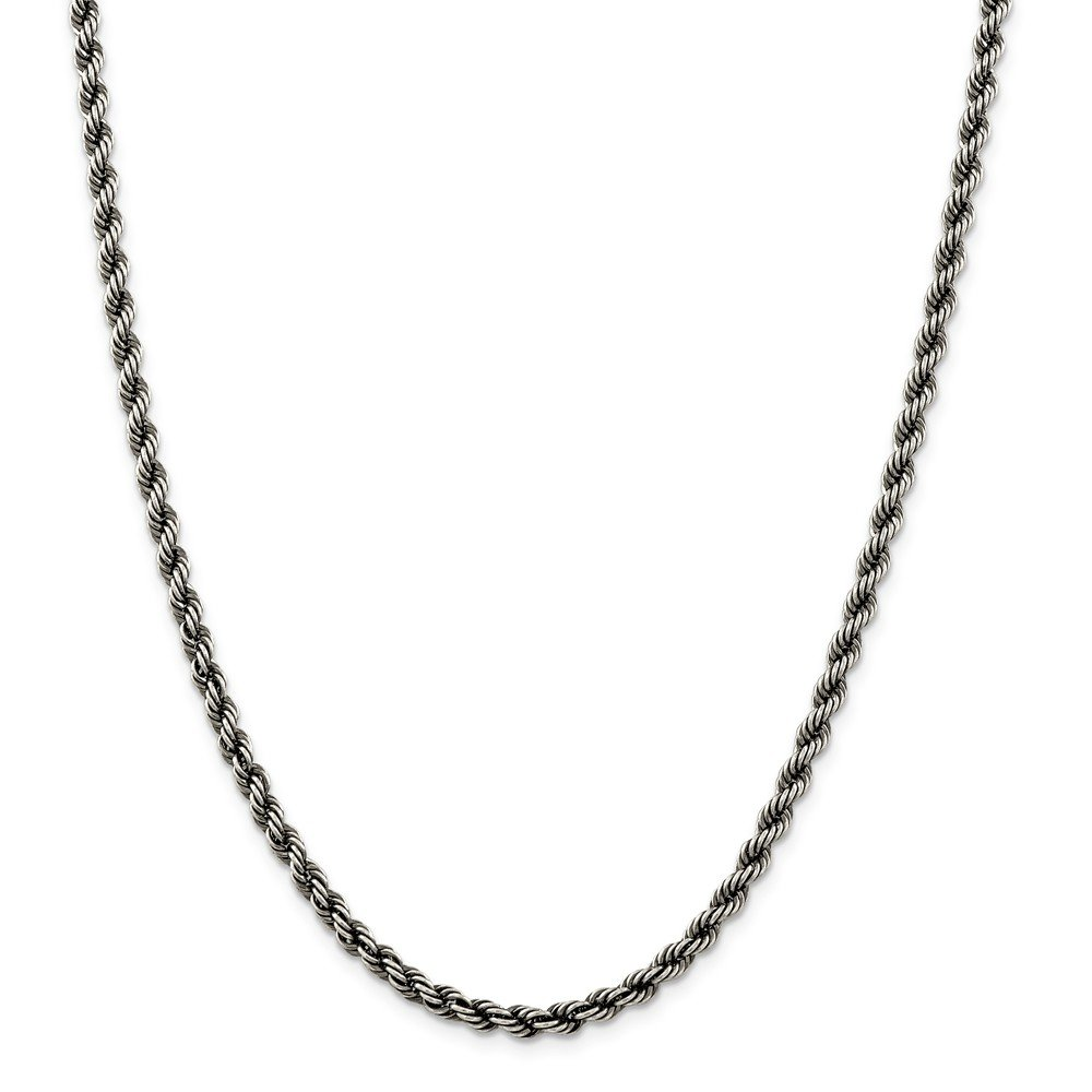 Solid 925 Sterling Silver Ruthenium 4mm Rope Chain Necklace 24'' - with Secure Lobster Lock Clasp