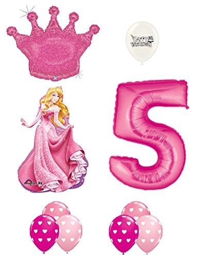 Sleeping Beauty Pink Glitter Crown 5th Birthday Balloon -