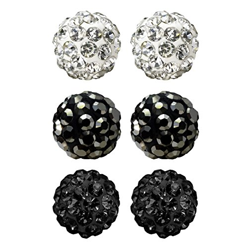Black Crystal Ball Earrings - 6