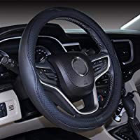 2019 New Microfiber Leather Car Large and Small Steering wheel Cover 14''-14.25'' Black