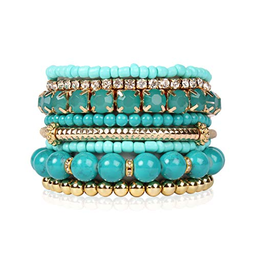 RIAH FASHION Multi Color Stretch Beaded Stackable Bracelets - Layering Bead Strand Statement Bangles (Original - Turquoise, 7)