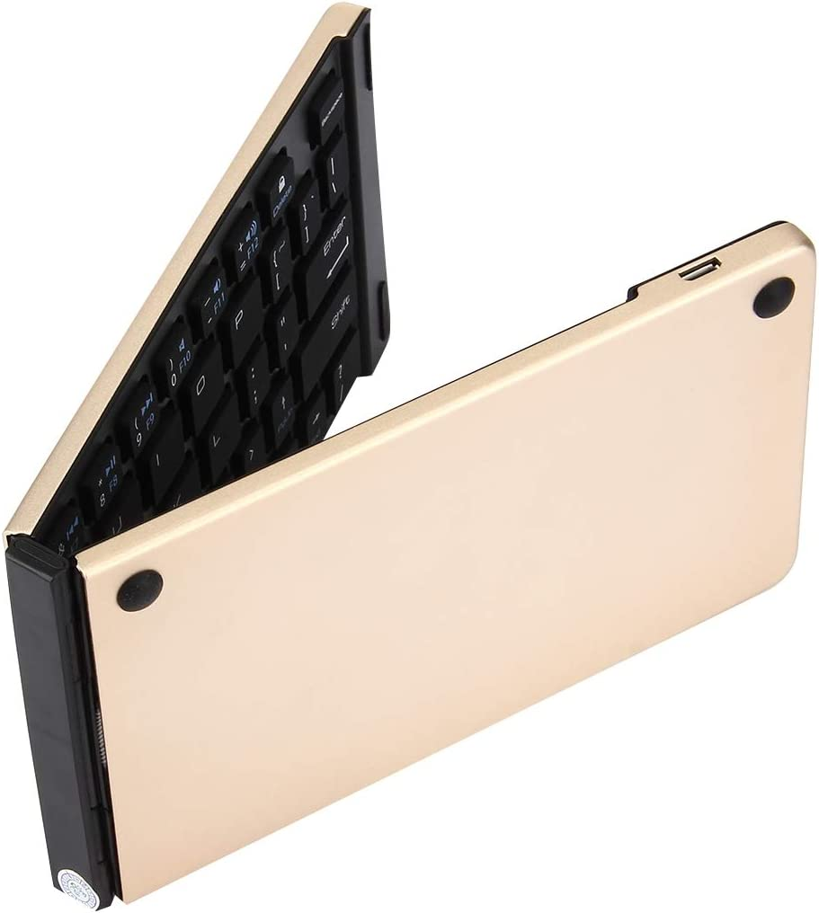The Lastest Model Color : Gold Gold LYX F66 Foldable Bluetooth Wireless 66 Keys Keyboard Support Android//Windows//iOS