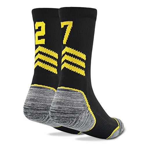 Funcat Women's Men's Antibacterial Cotton Self-adjusting Cuff Team Number Sports Crew Socks...