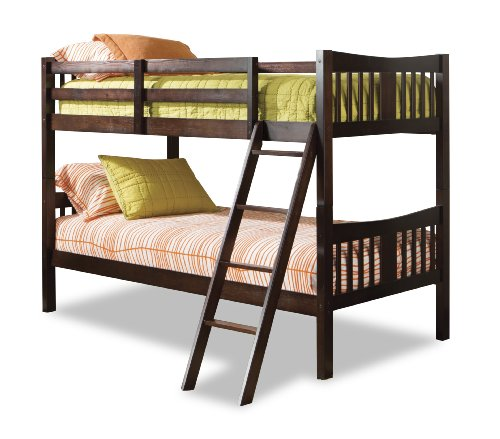 Storkcraft Caribou Solid Hardwood Twin Bunk Bed, Espresso Twin Bunk Beds for Kids with Ladder and Safety ()