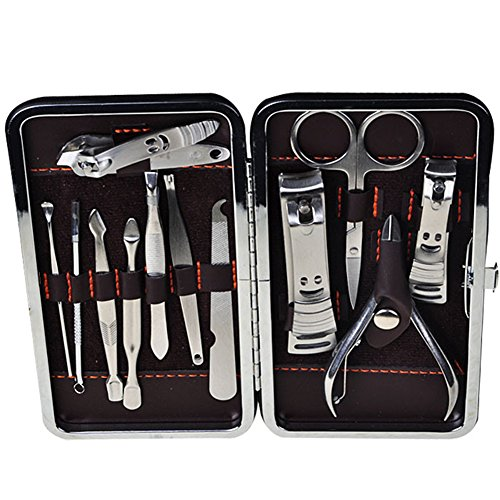 Yafeco 12Pcs Stainless Steel Nail Clipper Set Professional Nail Cutter - Grooming Kit Manicure & Pedicure Kit of with Leather - Case Boots Glasses