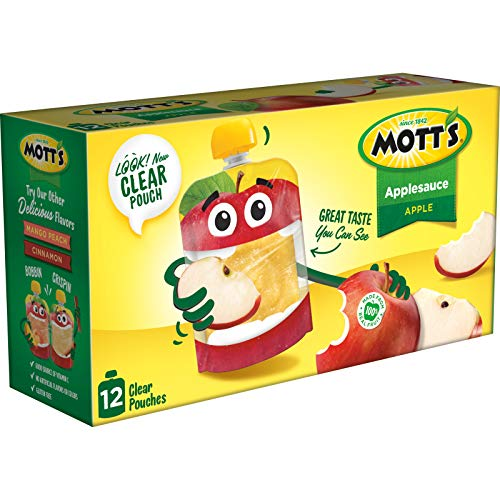 Mott's Applesauce, 3.2 Ounce Clear Pouch, 12 Count (Pack of 4), Perfect for on-the-go, Gluten Free and Vegan