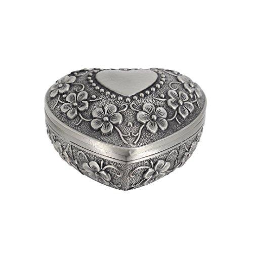 Multifit Antique Metal Rose Engraving Heart Shape Wedding Ring Jewelry Box Trinket Jewelry Storage Keepsake Box(Flower Heart)