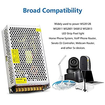 SHNITPWR 5V DC Power Supply AC/DC Converter Adapter Transformer 5 Volt 40 Amp 200W LED Driver 110V / 220V AC Input for WS2812B WS2811 WS2801 WS2813 SK6812 LED Pixel Strip Light CCTV Camera Radio: Home Audio & Theater