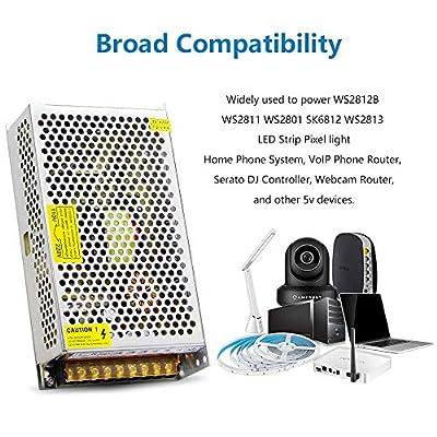 SHNITPWR 5V DC Power Supply AC/DC Converter Adapter Transformer 5 Volt 40 Amp 200W LED Driver 110V / 220V AC Input for WS2812B WS2811 WS2801 WS2813 SK6812 LED Pixel Strip Light CCTV Camera Radio: Home Audio & Theater