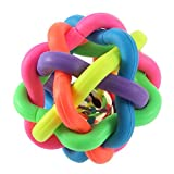 Wobbly Rubber Ball for Dogs - Colorful Pet Puppy Toys Round Chewing Ball with Small Bell - Dental Teething Healthy Teeth Chew Training Play Ball - TPR Bite Resistant Molar Weave Ball (Diameter 1.5