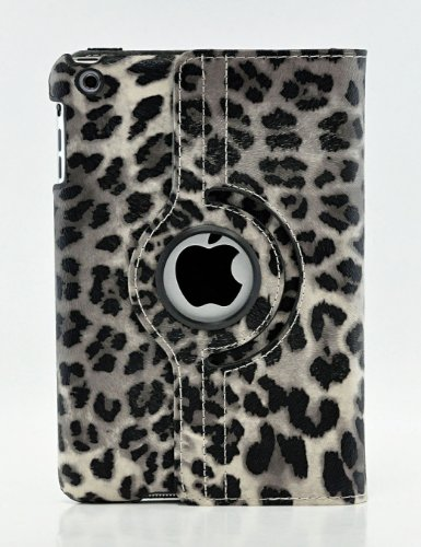 LiViTech(TM) Leopard Design Series 360 Degree Rotating PU Leather Case Cover for Apple iPad (iPad Air, Gray)