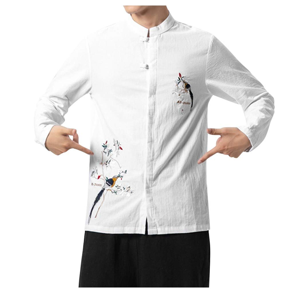 VZEXA Mens Tops Ethnic Style Embroidery Buckle Plus Size Long Sleeves Print Shirt by VZEXA