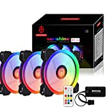 120mm Standard 3 Pack Set RGB LED Case Fan with Controller, Exwin Quiet Edition High Airflow Adjustable Colorful LED Case Fan for PC CPU Computer Case Cooling with Coolers, Radiators System