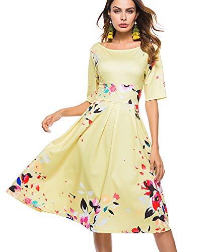 3/4 sleeve yellow dress - 5