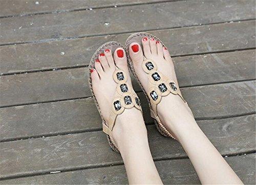 Flats Summer Clip Shoes Handmade Beach Bohemian Elastic Sandals Beige Casual Toe Women Wear qEan4B