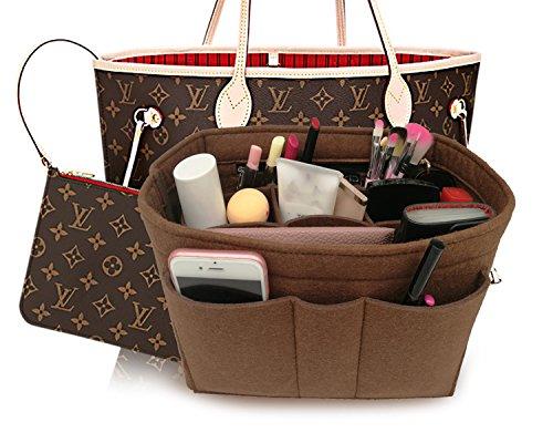 Petite Tote Handbag - Felt Insert Fabric Purse Organizer Bag, Bag Insert In Bag with Zipper Inner Pocket Brown XL