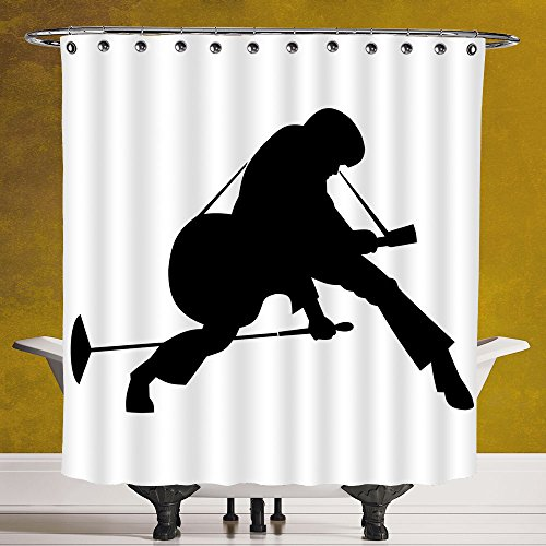 - SCOCICI Durable Shower Curtain 3.0 by [Elvis Presley Decor,King of Rockn Roll Silhouette Dancing Singing Playing Guitar Decorative,Black and White ] Polyester Fabric Bathroom Shower Curtain