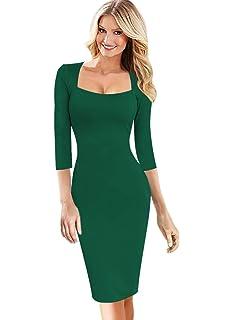 c2901f9e360 VFSHOW Womens Sexy Elegant Square Neck Work Business Bodycon Sheath Dress
