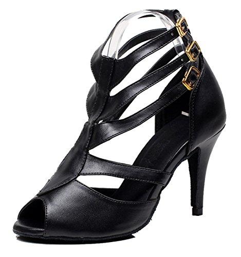 Tda Donna Stiletto Alta Punta Aperta Cut-out Sala Da Ballo Tango Latino Ballo Moderno Scarpe Da Sposa 8.5 Cm Tacco Pu Nero