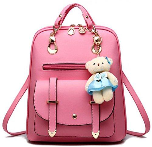 La mujer mochilas mochilas bolsas de cuero niñas grandes mochilas escolares mochila de viaje femenina Candy Color sólido qianhui fenhong