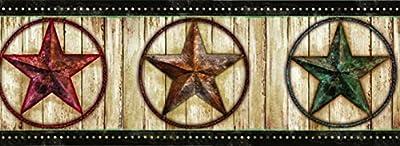 Chesapeake PUR44661B Theo Black Weathered Barn Star Wallpaper Border