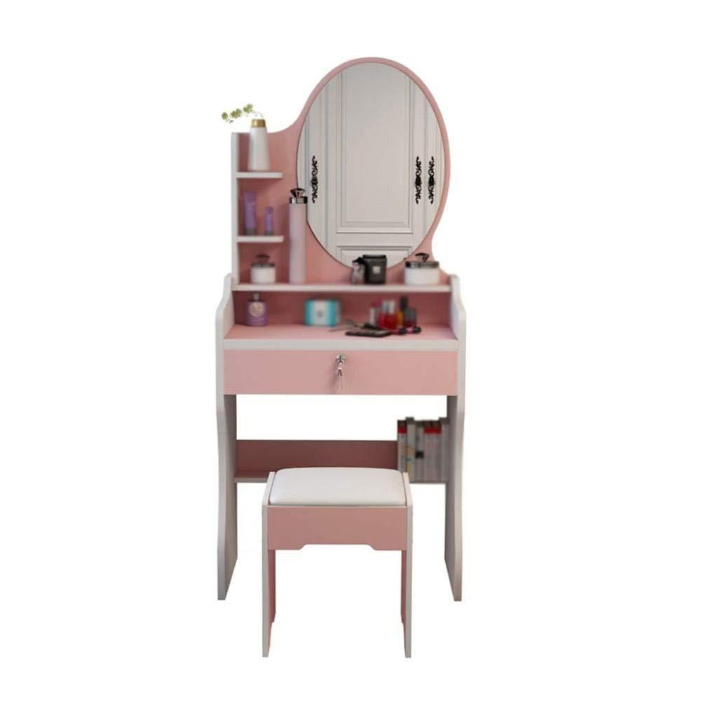 FENGFAN Rosa Schminktisch, Kosmetikspiegel Schminktisch Schlafzimmer Schminktisch Ankleidezimmer Schminktisch Mädchen Schminktisch (Farbe : Pink)