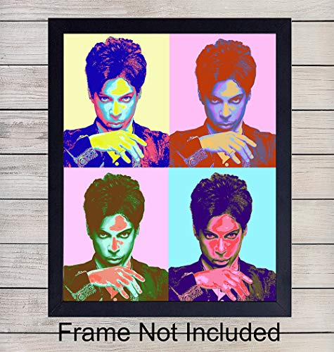 Prince Wall Art Print - Perfect Gift for Rock n Roll Fans and Guitar Players - Steampunk - Cool Home Decor - Ready to Frame (8x10) Vintage Photo