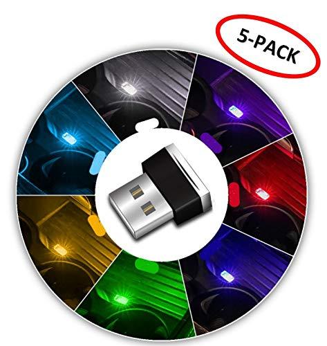 indicateur WESEEDOO Veilleuse de Voiture /Éclairage int/érieur de Voiture USB Mini lumi/ère 5-Pack de /Éclairage int/érieur Voiture USB pour la d/écoration de Voiture