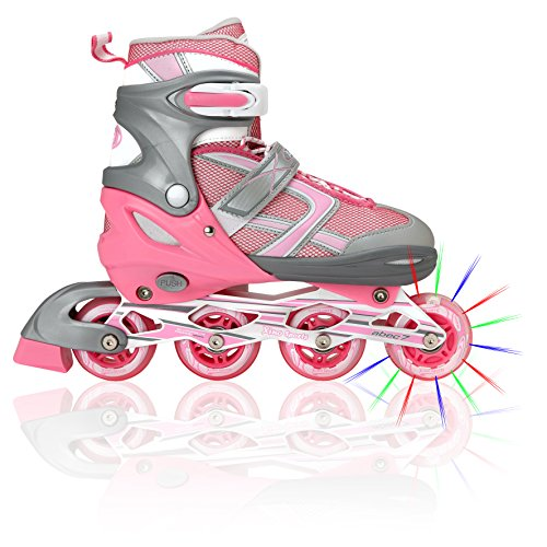 Premium Adjustable Inline Skates for Girls, Featuring Illuminating Front Wheels, Awesome-looking, One-of-a-Kind, Comfortable & Durable Rollerblades - Front Roller