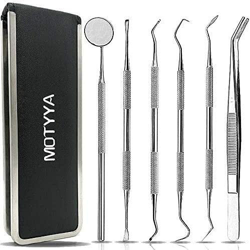 Dental Tools, MOTYYA Teeth Cleaning Tools kit Professional Tooth Hygiene Stainless Steel Dental Picks Oral Care set to Remover Plaque Tartar,tooth scraper,Mouth Mirror,Tooth Scaler home use (6 Tools)