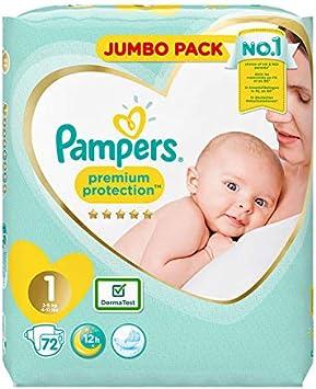 Pampers Caja de pañales jumbo para recién nacido, talla 1 – Paquete de 72 pañales: Amazon.es: Salud y cuidado personal