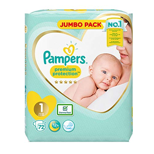 Pampers Size 1 New Baby Jumbo Box Nappies – Pack of 72 Nappies