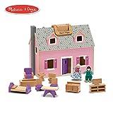 "Melissa & Doug Fold & Go Mini Dollhouse (Portable Wooden Dollhouse, Working Doors, Sturdy Carrying Handles, 10.4"" H × 11.9"" W × 16.7"" L)"