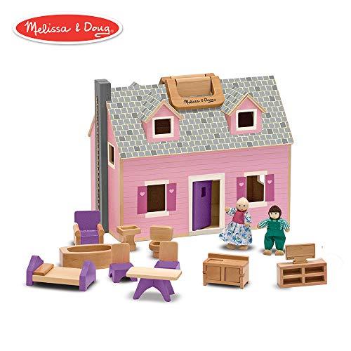 Melissa & Doug Fold & Go Mini Dollhouse (Portable Wooden Dollhouse, Working Doors, Sturdy Carrying Handles, 10.4