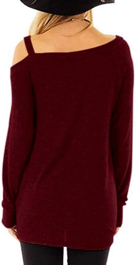 THSGRT Womens Long Sleeve Shirt Cold Shoulder Twist Knot Front Knit Tunic Tops